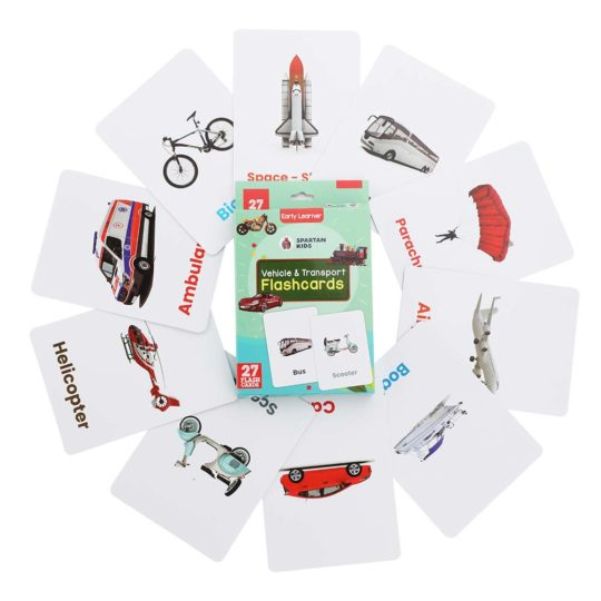 Vehicle & transport flash cards for kids