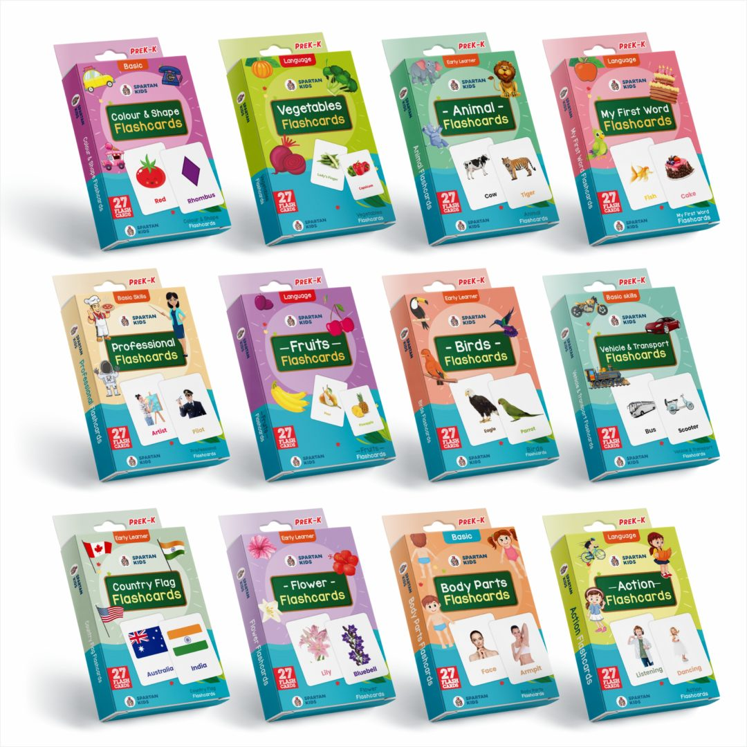 combo regular flash cards for kids pack of 12